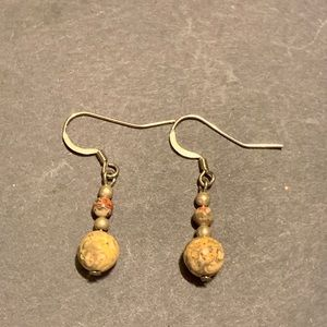 leopard skin jasper Round stone bead earrings